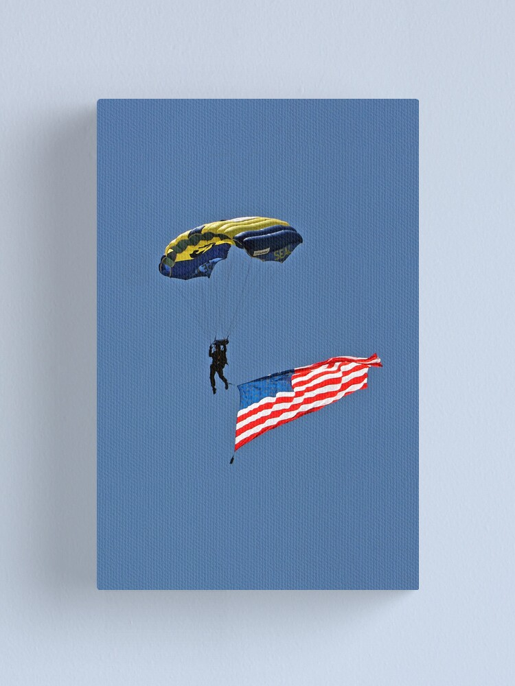 Alternate view of Parachuting with the Flag Canvas Print