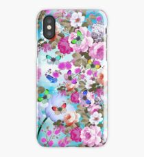 Vintage colorful butterflies girly floral pattern iPhone Case
