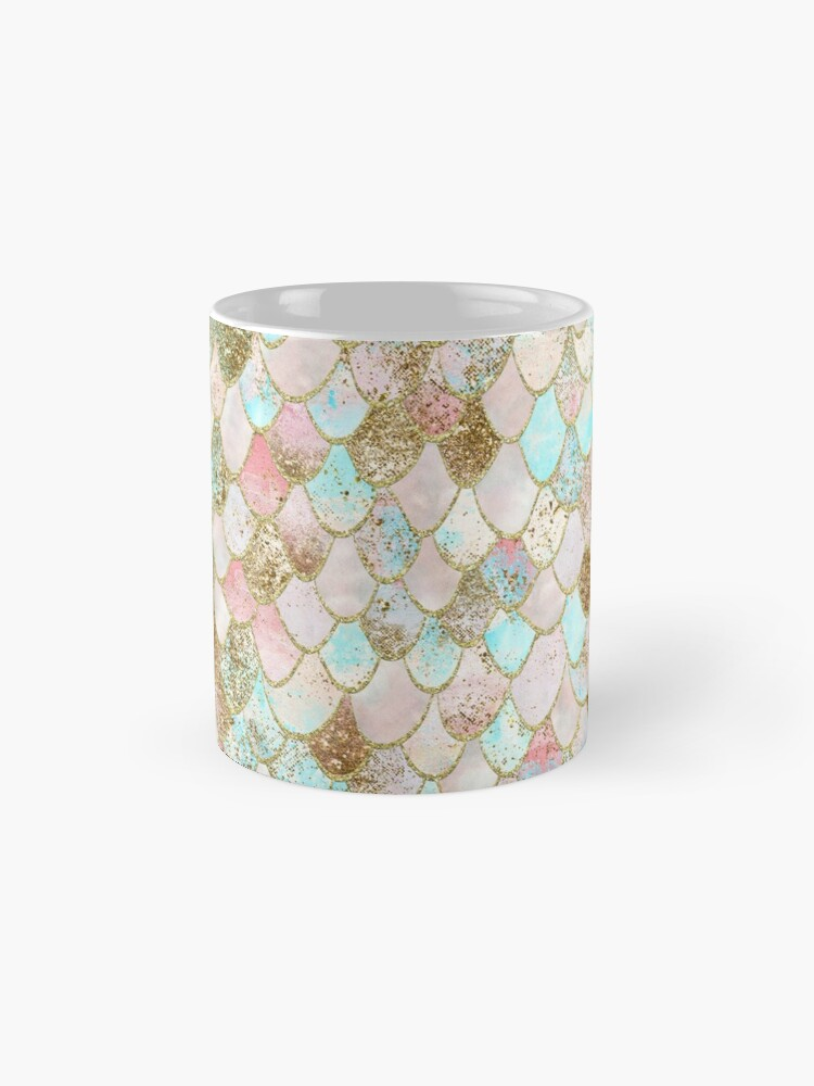 Alternate view of Watercolor Wonky Gold Glitter Pastel Summer Mermaid Scales  Mug