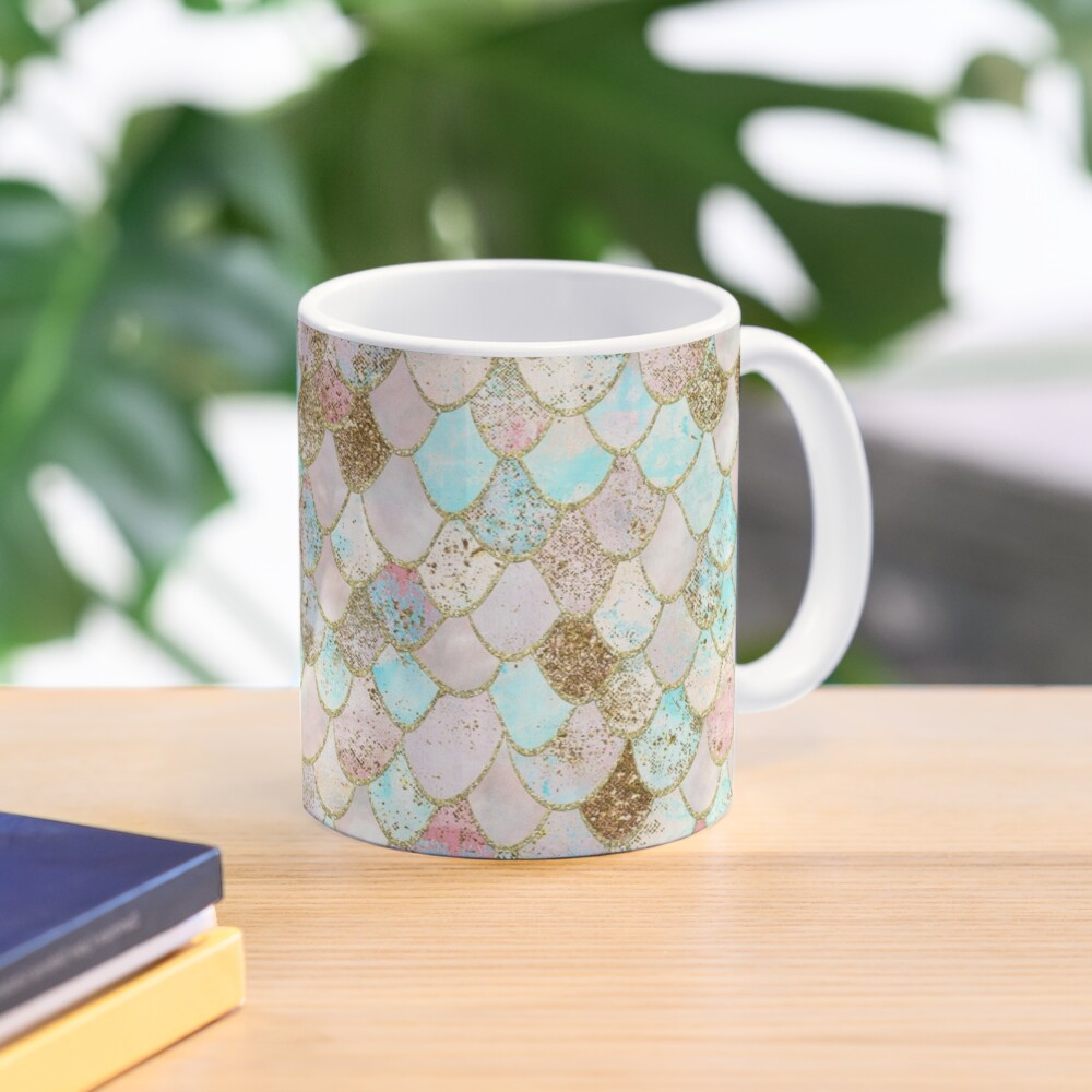Watercolor Wonky Gold Glitter Pastel Summer Mermaid Scales  Mug
