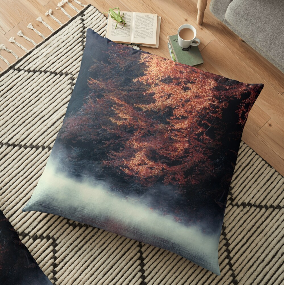 Nature*s Mirror - Fall at the River Floor Pillow
