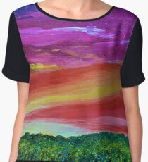 Sunset Memories  - Abstract Sky - Landscape Oil Painting Chiffon Top