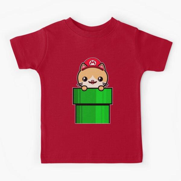 Kawaii Cat Cute Funny Mario Parody Kids T-Shirt
