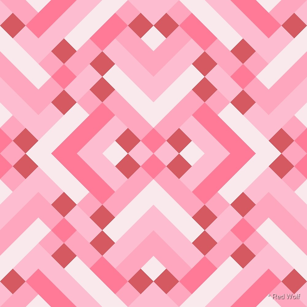 Geometric Pattern: Woven Rug: Pink by * Red Wolf