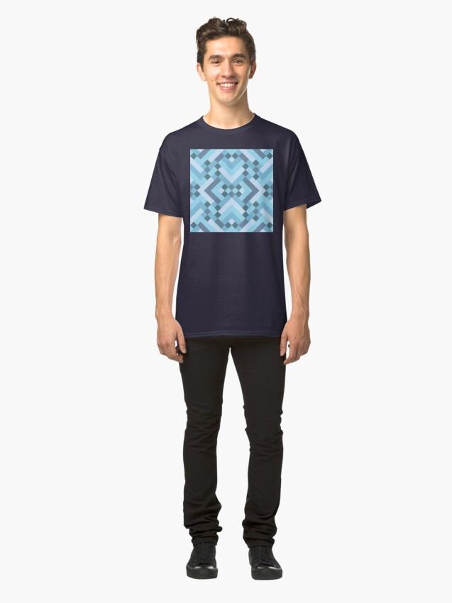 Alternate view of Geometric Pattern: Woven Rug: Blue Classic T-Shirt