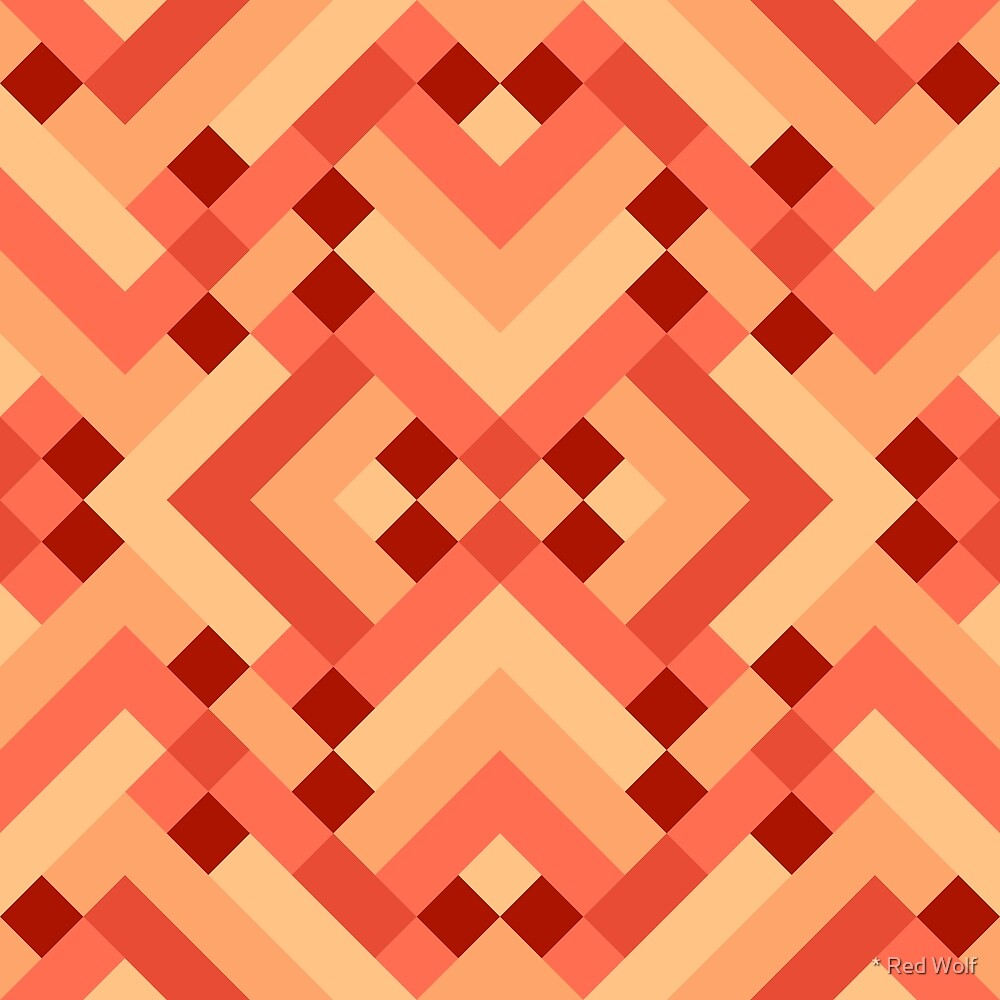Geometric Pattern: Woven Rug: Orange by * Red Wolf