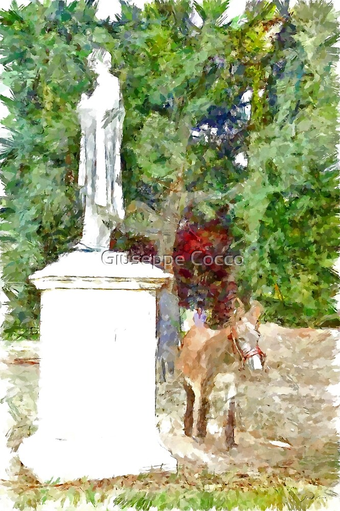 Donkey at the foot of the monument by Giuseppe Cocco