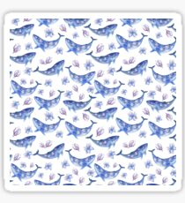Blue magnolia whale Sticker