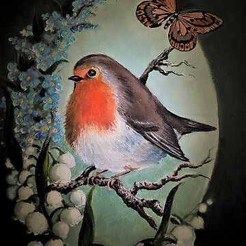 Robin garden bird lily of the valley,forget me not flower by gabo2828