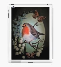 Robin garden bird lily of the valley,forget me not flower iPad Case/Skin