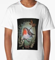 Robin garden bird lily of the valley,forget me not flower Long T-Shirt