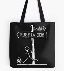"Funny ""Reality vs Russia 2018"" Signpost Design; world cup 2018 Tote Bag"