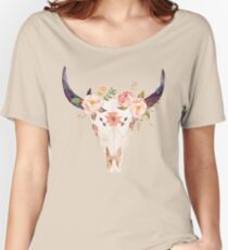 Ethnic Flowers Bull Head  Women's Relaxed Fit T-Shirt