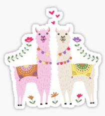 Weiß und Pink Lama Pattern Sticker