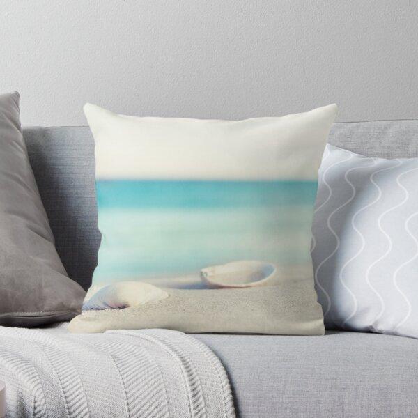Seashell Beach Ocean Photography Throw Pillow