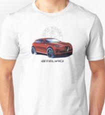 Alfa Romeo Stelvio Giulia Quadrifoglio - blk logo for white shirt Slim Fit T-Shirt