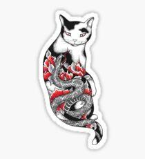 Pegatina Gato en Grey Snake Tattoo