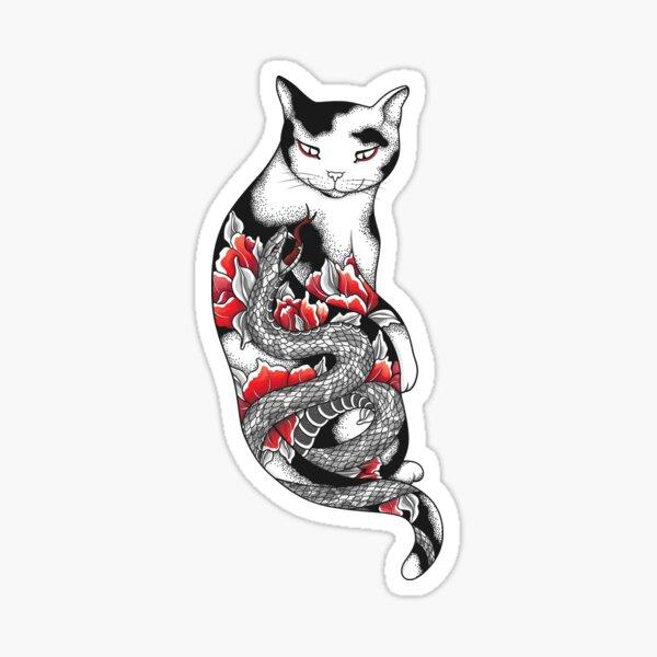 Cat in Grey Snake Tattoo Sticker