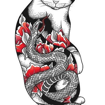 Cat in Grey Snake Tattoo by runcatrun