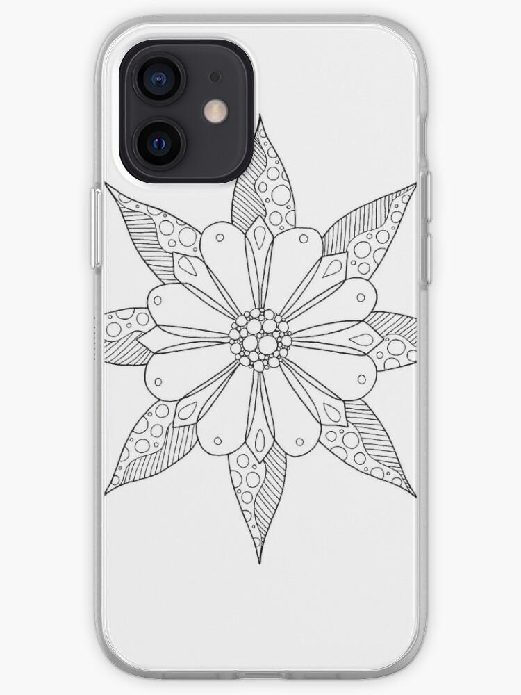 Mandala fleur et feuilles   Coque iPhone