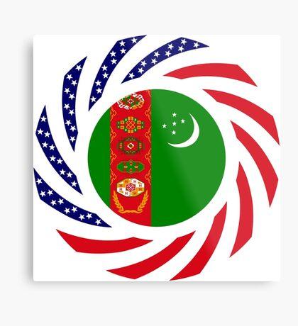 Turkmen American Multinational Patriot Flag Series Metal Print
