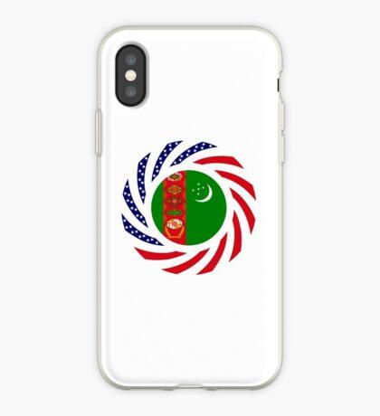 Turkmen American Multinational Patriot Flag Series iPhone Case
