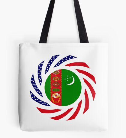 Turkmen American Multinational Patriot Flag Series Tote Bag