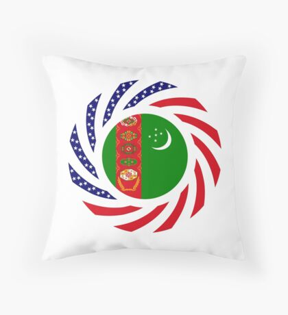 Turkmen American Multinational Patriot Flag Series Throw Pillow