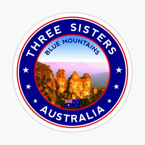 Three Sisters, Blue Mountains, Australia, sticker, tshirt, blue bg Sticker