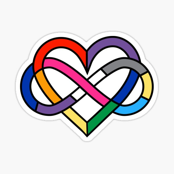 Queer Polyamory Pride Infinity Heart Sticker