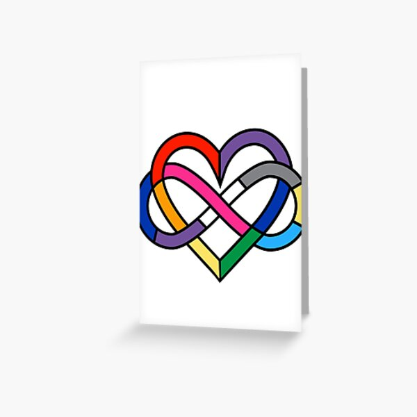 Queer Polyamory Pride Infinity Heart Greeting Card