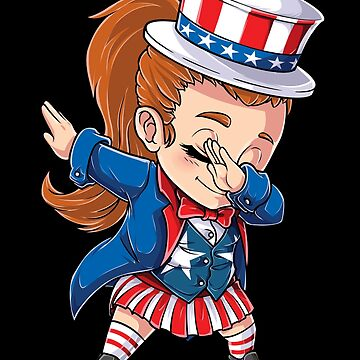 Dabbing Uncle Sam Girl T shirt 4th of July Girls Kids Gift by LiqueGifts