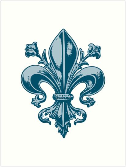 Quebec France Royal Blue Fleur De Lys Vintage Seigneur Medieval