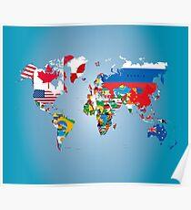 Reisende Weltkarte Flags Poster