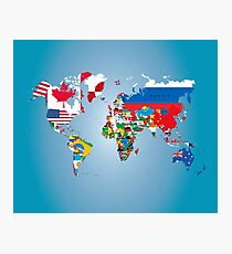 Traveler World Map Flags  Photographic Print