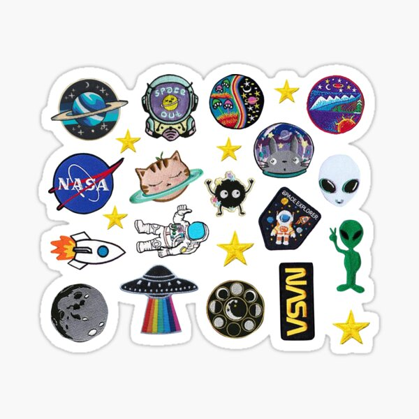 Space Exploration Alien Outer Space Galaxy Patch Inspired Pack Sticker