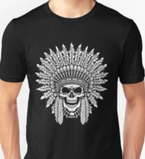Skull Wearing Indian Warrior Headdress  Unisex T-Shirt