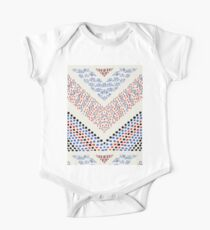 RED BLUE WHITE BLACK DOTS ,LINES,ART DECO CHEVRONS One Piece - Short Sleeve