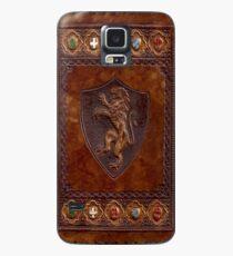 Hand-Tooled Leder mittelalterlichen Buchumschlag Hülle & Klebefolie für Samsung Galaxy