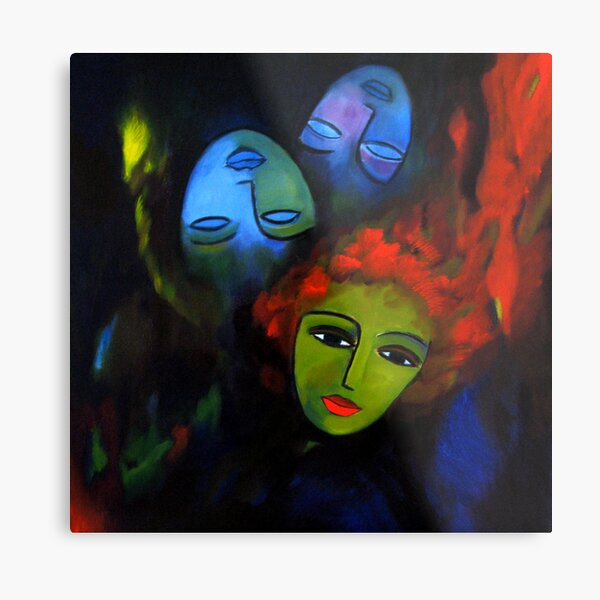 Red hair, blue masks Metal Print