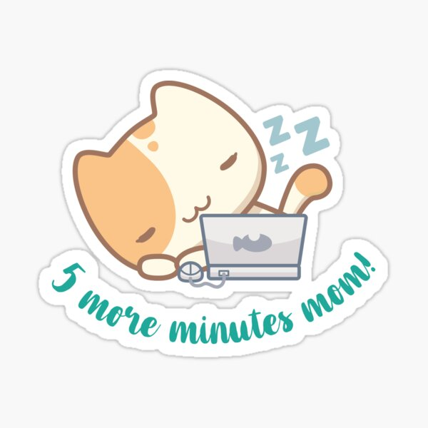 Lala the cute cat - 5 minutes more mom! Sticker