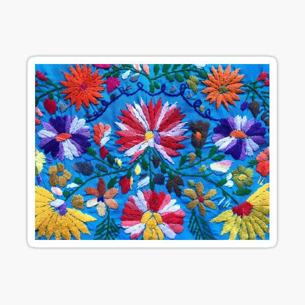 Red & White Mexican Flowers Sticker