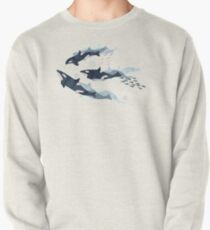 Orca in Motion / blush ocean pattern Pullover
