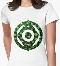 Pot Leaf Pattern Women's Fitted T-Shirt