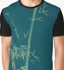 Three bamboo stalks with leaves artistic oriental style design illustration in dusty purple colors art print Graphic T-Shirt