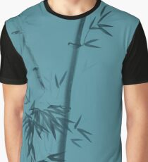 Three bamboo stalks with leaves artistic oriental style design illustration on sky blue background art print Graphic T-Shirt