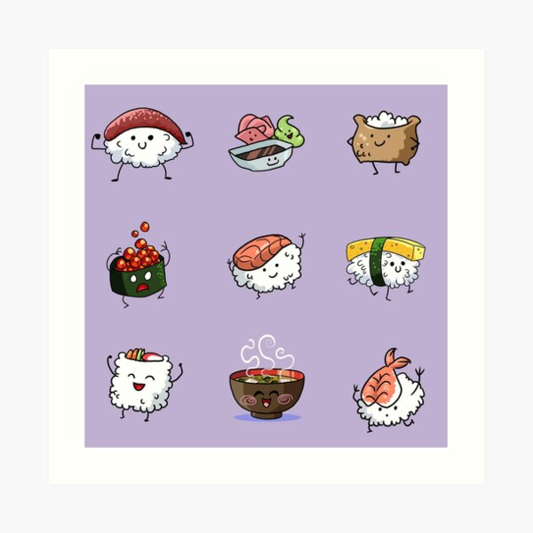Sushi Pals (Purple) Art Print