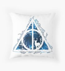 HP Hallows  brenches and stag - voids and sihlouette (blue galaxy) - wand, cloak, stone Throw Pillow