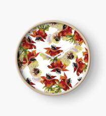 Red Anemones Print Clock