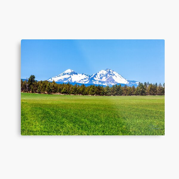 Three Sisters Mountains, By DAM Creative Metal Print